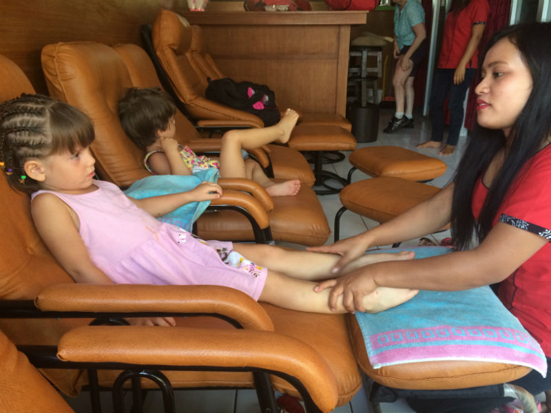 Having massage in Semynak, Bali